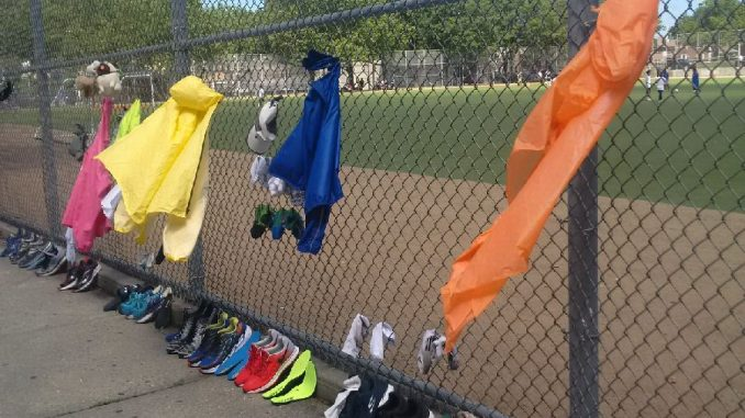 runners gear drying in the wind